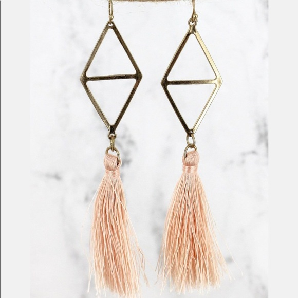 Crave Jewelry - CRAVE GOLDTONE DIAMOND AND PEACH TASSEL EARRINGS